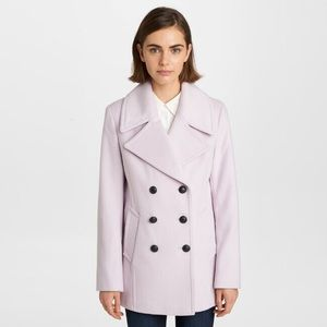 Karl Lagerfeld Icy Pink Wool Peacoat Small